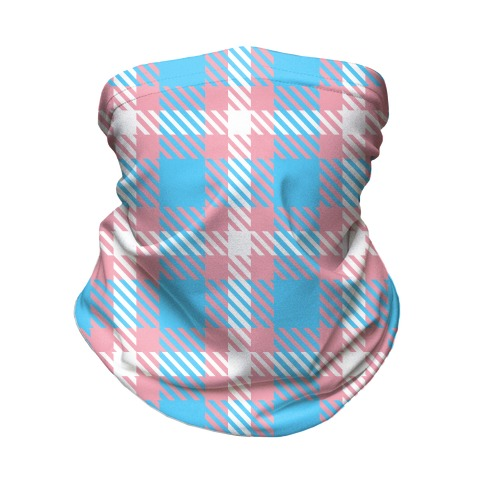 Trans Pride Flag Plaid Neck Gaiter