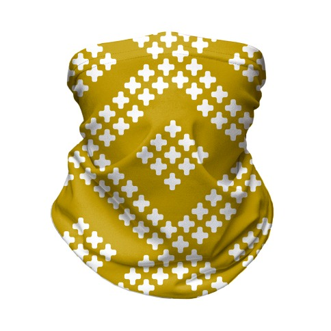 Little Cross Pattern Yellow Neck Gaiter