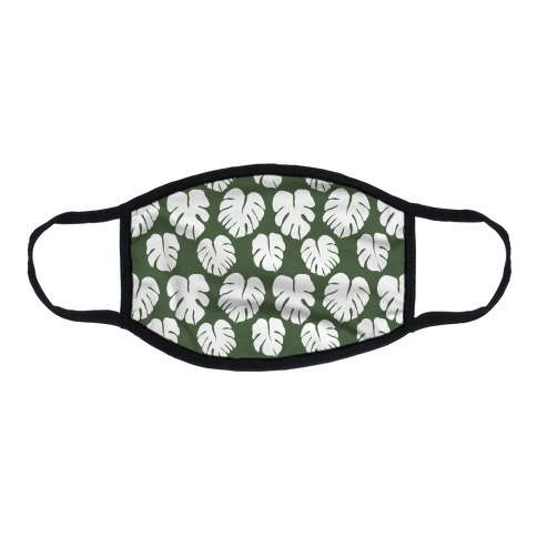 Monstera Simple Boho Pattern Green and White Flat Face Mask
