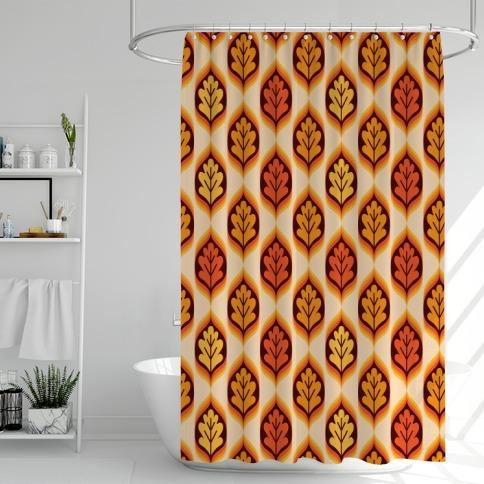 Vintage Autumn Leaves Pattern Shower Curtain