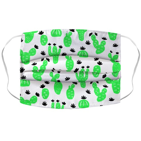 Neon Cacti Pattern White Accordion Face Mask