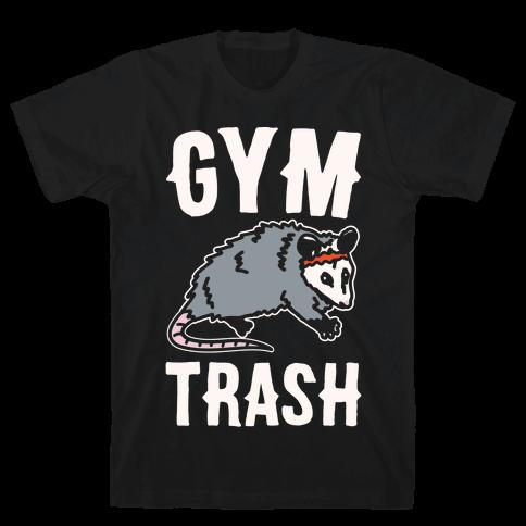 Gym Trash Opossum White Print Mens T-Shirt
