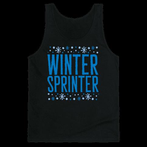Winter Sprinter White Print Tank Top