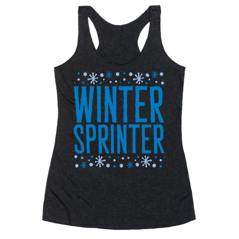Winter Sprinter White Print Racerback Tank Top