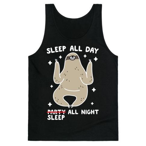 Sleep All Day Sleep All Night Sloth Tank Top