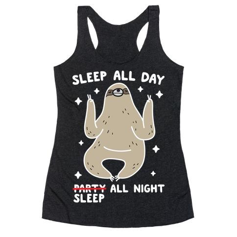Sleep All Day Sleep All Night Sloth Racerback Tank Top