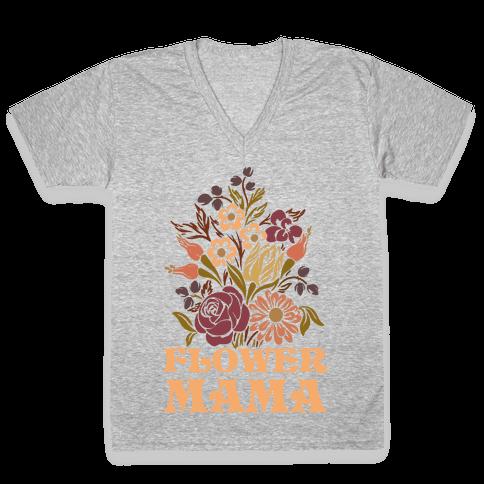 Flower Mama V-Neck Tee Shirt