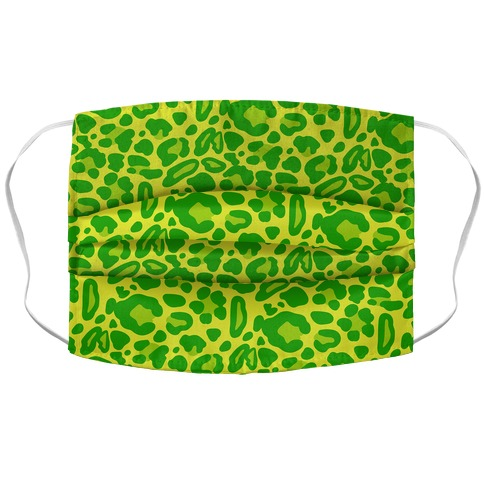 Green Leopard Print Pattern Accordion Face Mask