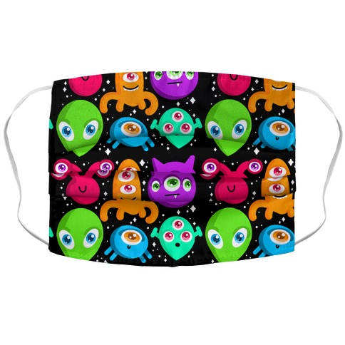 Silly Aliens Pattern Accordion Face Mask