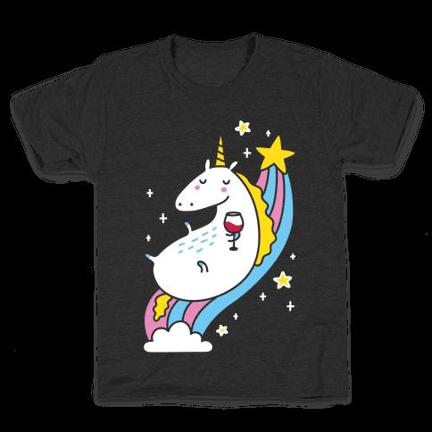 Unicorn Drinking Wine On Rainbow Kids T-Shirt