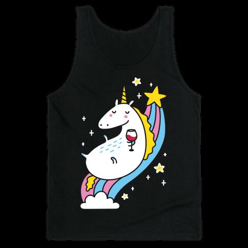 Unicorn Drinking Wine On Rainbow Tank Top