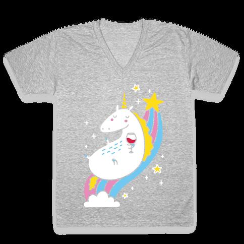 Unicorn Drinking Wine On Rainbow V-Neck Tee Shirt