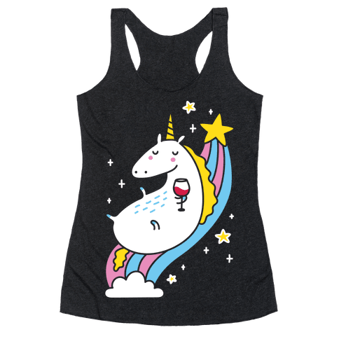Unicorn Drinking Wine On Rainbow Racerback Tank Top