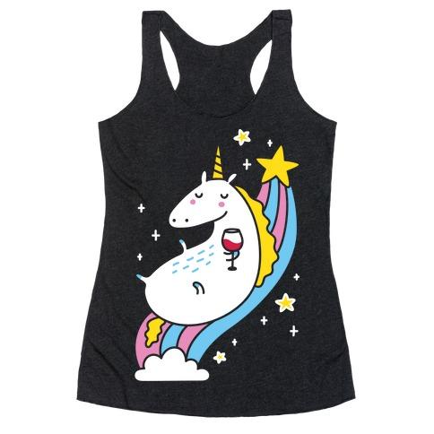 Unicorn Drinking Wine On Rainbow Racerback Tank Top