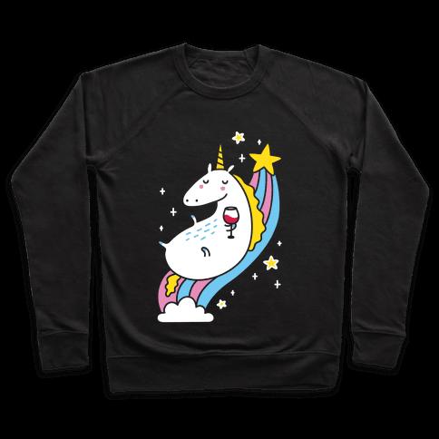 Unicorn Drinking Wine On Rainbow Pullover