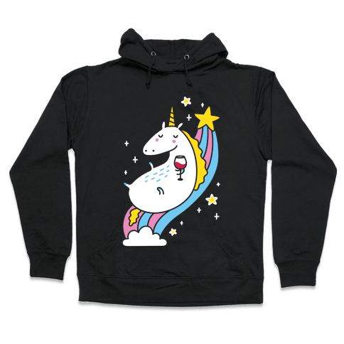 Unicorn Drinking Wine On Rainbow Hooded Sweatshirt