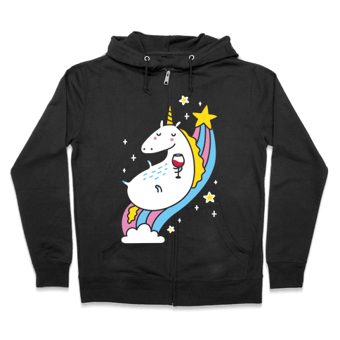 Unicorn Drinking Wine On Rainbow Zip Hoodie