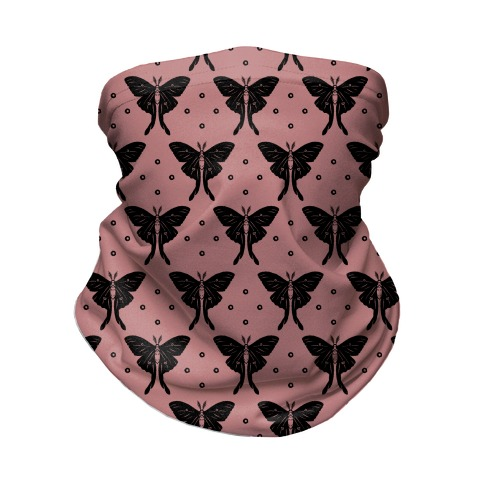Luna Moth Black and Dusty Rose Boho Pattern Neck Gaiter