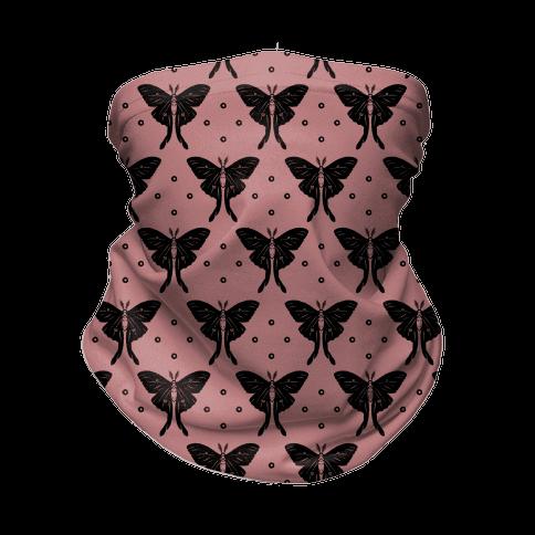 Luna Moth Black and Dusty Rose Boho Pattern Neck Gaiter