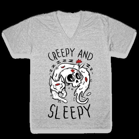 Creepy And Sleepy V-Neck Tee Shirt