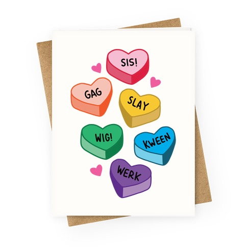 Gay Lingo Candy Hearts Greeting Card