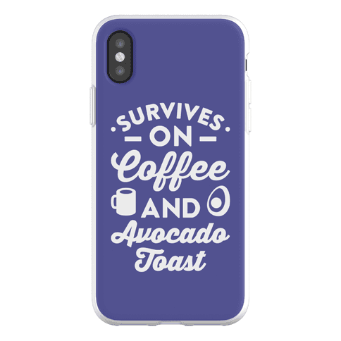 Survives On Coffee And Avocado Toast Phone Flexi-Case