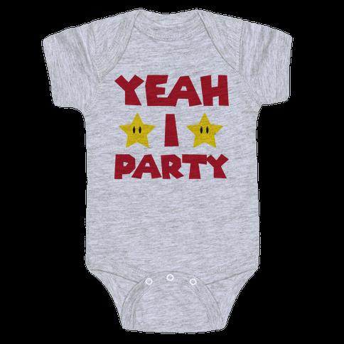 Yeah I Party Mario Parody Baby Onesy