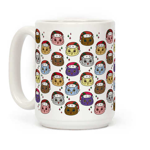 Cute Santa Owl Pattern Coffee Mug
