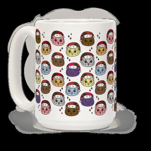 Cute Santa Owl Pattern Coffee Mug
