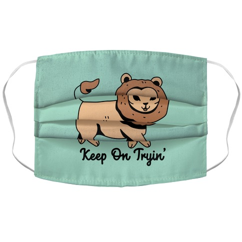 Keep On Trying Lion Accordion Face Mask