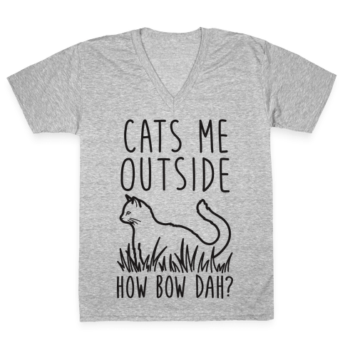 Cats Me Outside How Bow Dah? (Outdoor Cat) V-Neck Tee Shirt