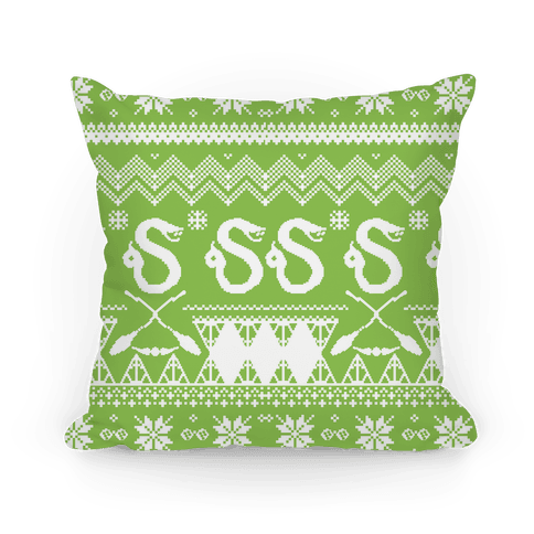 Hogwarts Ugly Christmas Sweater: Slytherin Pillow