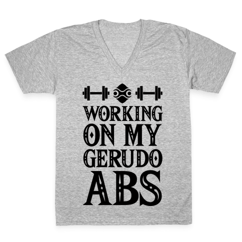 Working On My Gerudo Abs V-Neck Tee Shirt