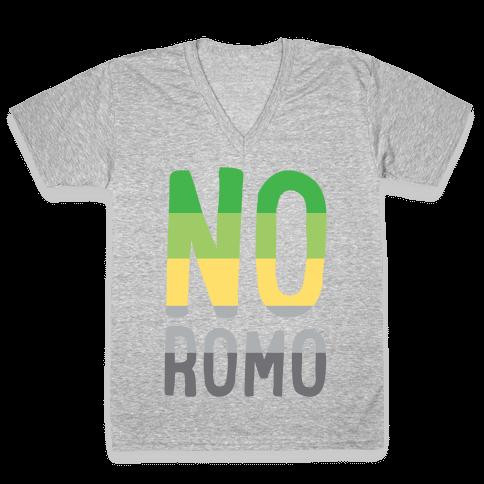No Romo White Print V-Neck Tee Shirt