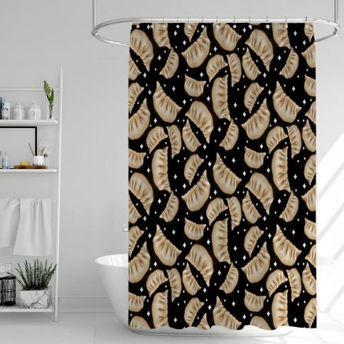 Dumplings Pattern Black Shower Curtain