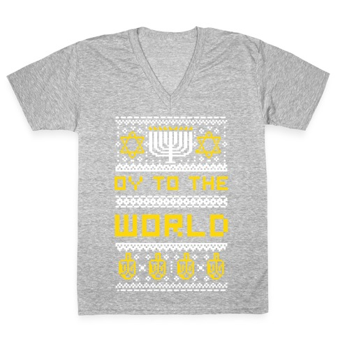 Oy To The World Ugly Sweater V-Neck Tee Shirt