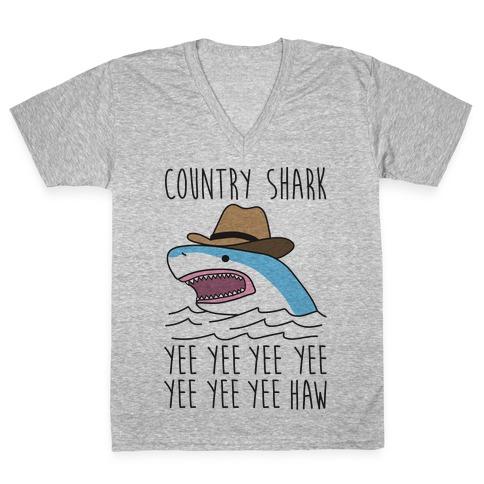 Country Shark Yee Haw V-Neck Tee Shirt