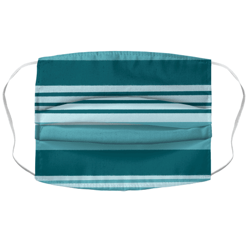 Turquoise Horizontal Stripes Face Mask Cover