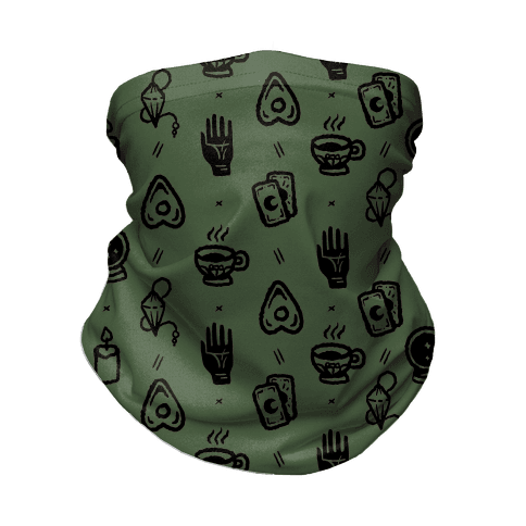 Tools of Divination Pattern Chive Green Neck Gaiter