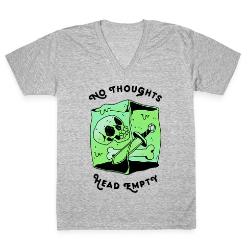 No Thoughts, Head Empty (Gelatinous Cube) V-Neck Tee Shirt