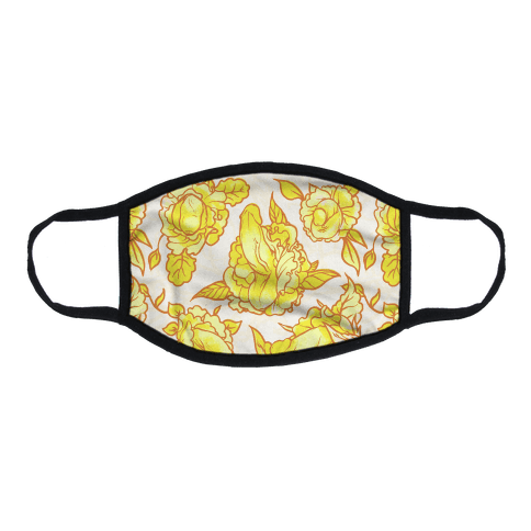 Floral Penis Pattern Yellow Flat Face Mask