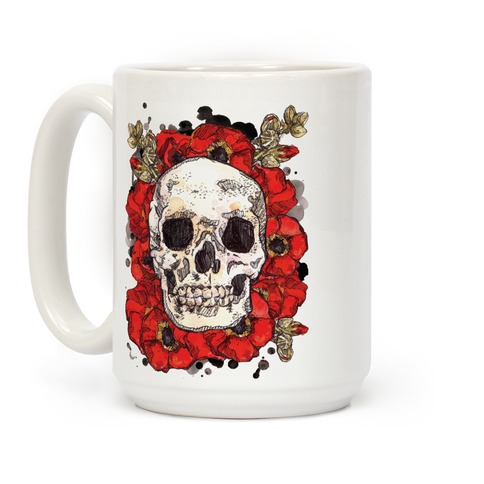 Skull on a Bed of Poppies Red Coffee Mug