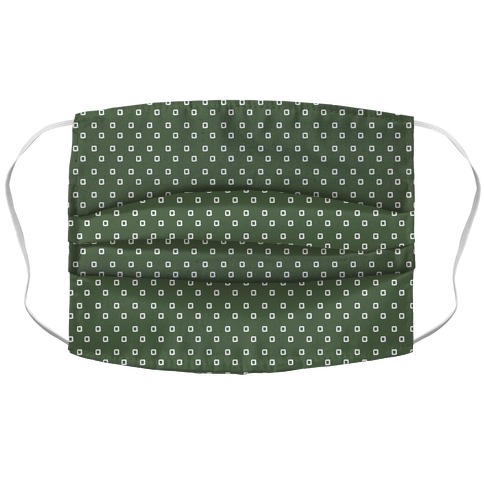 Dainty Squares Pattern Chive Green Accordion Face Mask