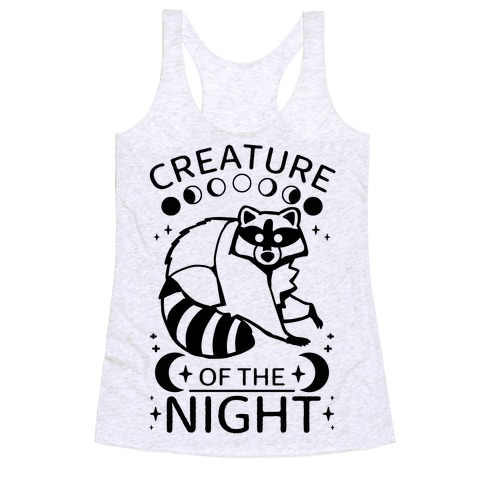 Creature Of The Night Raccoon Racerback Tank Top