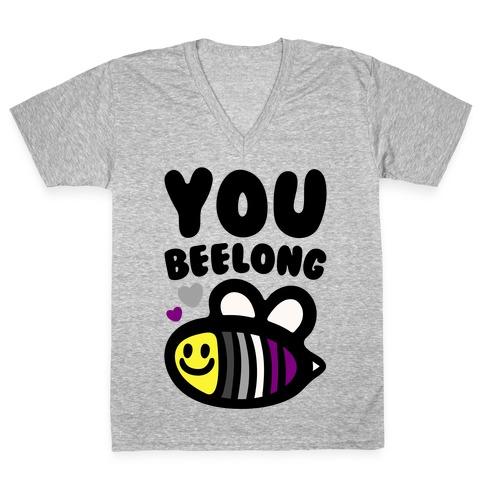 You Belong Asexual Pride V-Neck Tee Shirt