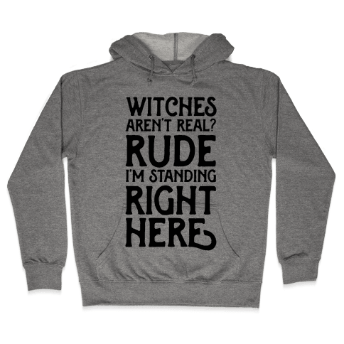 Witches Aren't Real? Rude I'm Standing Right Here Hooded Sweatshirt