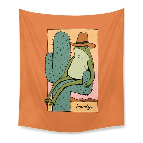 Howdy Frog Cowboy Tapestry