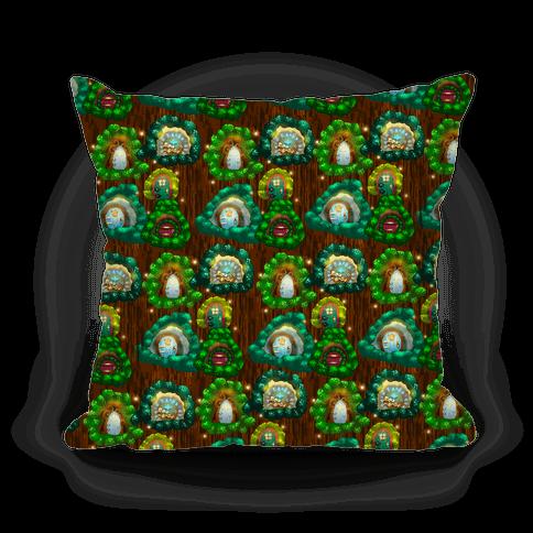 Fairy Cottage Doors Pattern Pillow