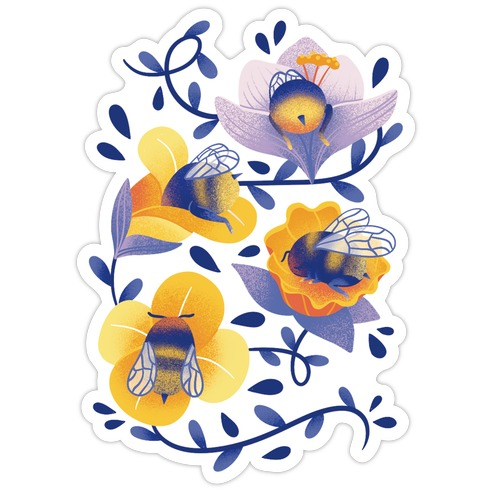 Sleepy Bumble Bee Butts Floral Die Cut Sticker