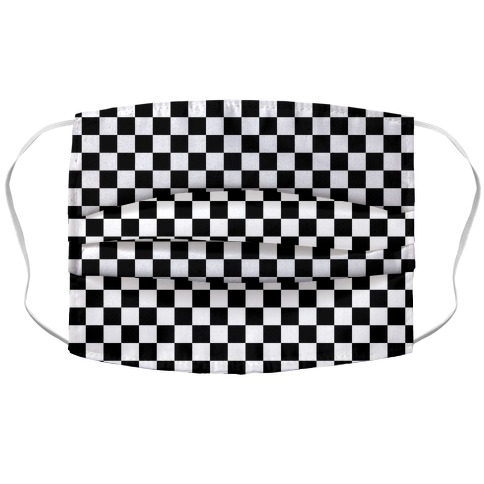 Checkered Black and White Accordion Face Mask